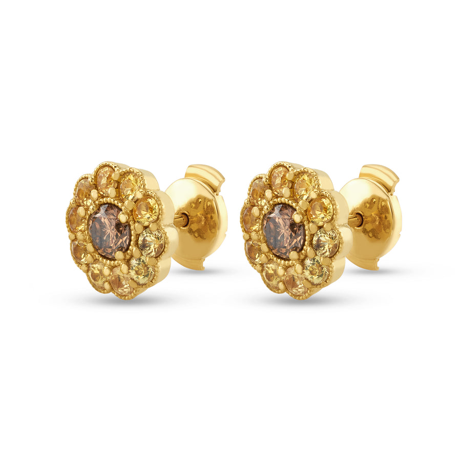 Fleur Earrings in Yellow Gold and Yellow Sapphires and Brown Diamonds