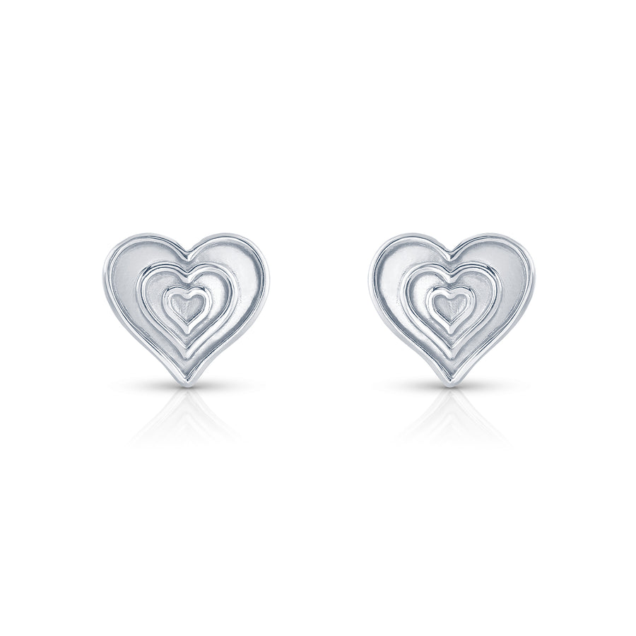 Sarah's Heart Stud Earrings in White Gold