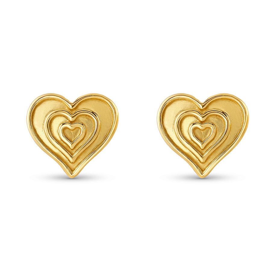 Sarah's Heart Stud Earrings in Yellow Gold