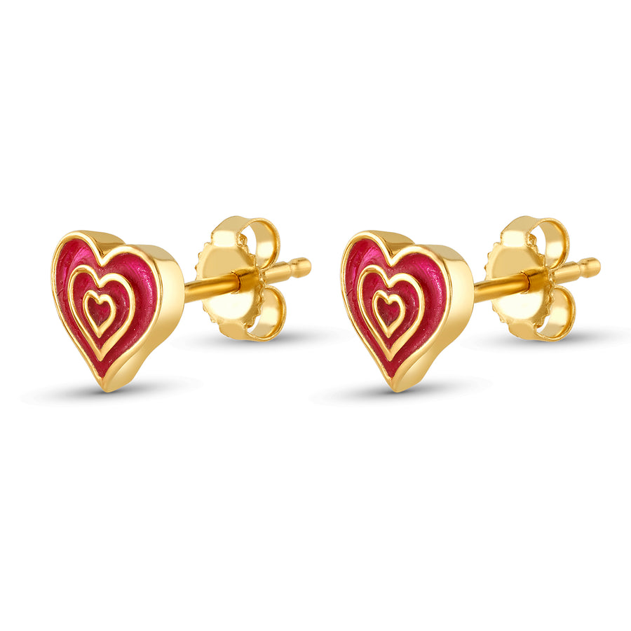 Sarah's Heart Stud Earrings in Yellow Gold and Red Enamel
