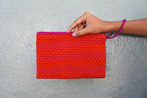 Orange Simple Clutch in Dragonfruit
