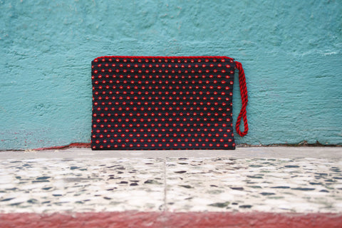 Black Simple Clutch in Milano Plaid