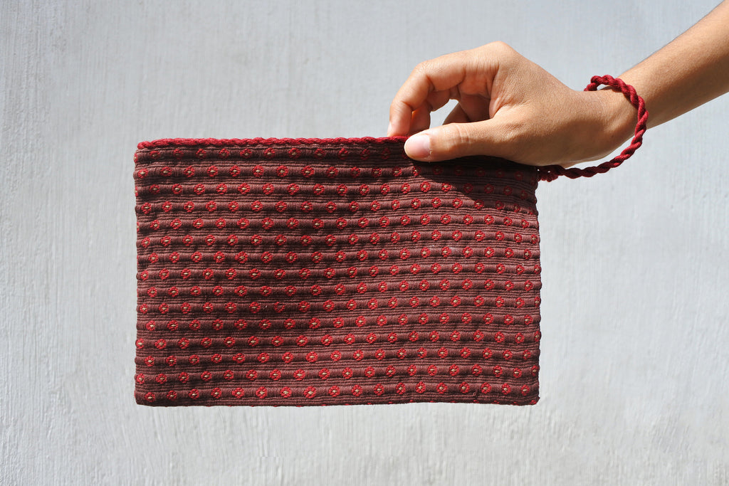 Brown Simple Clutch in Coffee Plaid