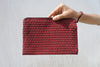 Red Simple Clutch in Coffee Plaid