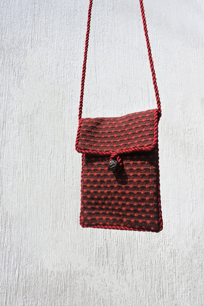 Pocket on a String in Brown Coffee Plaid