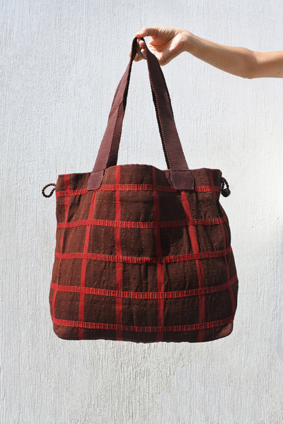 Large Shopping Bag in Coffee Plaid