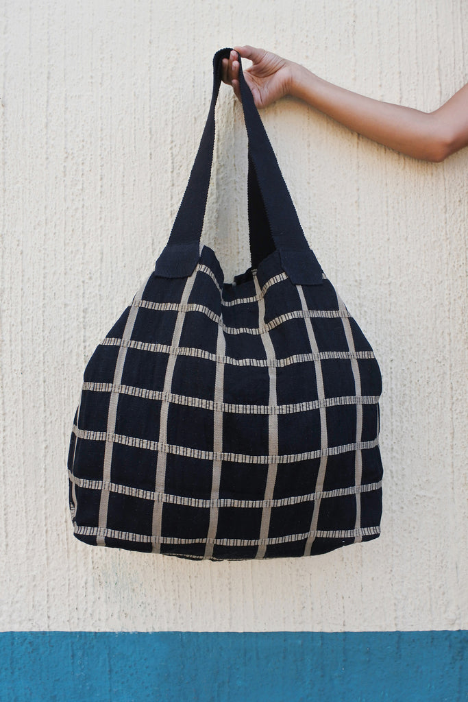 Large Shopping Bag in Milano Plaid