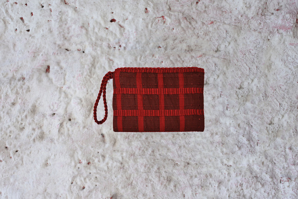 Wristlet in Coffee Plaid