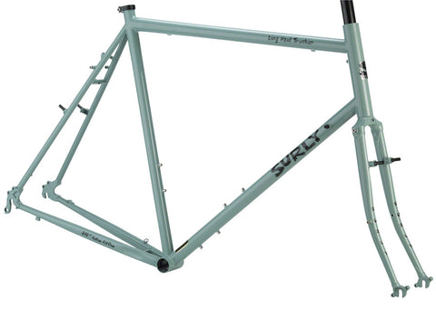 Cadre Vélo Cromoly Surly Long Haul Trucker Cyclotourisme Frame Québec Canada Vert Mousse Seafoam Green Grandpa's Thermos