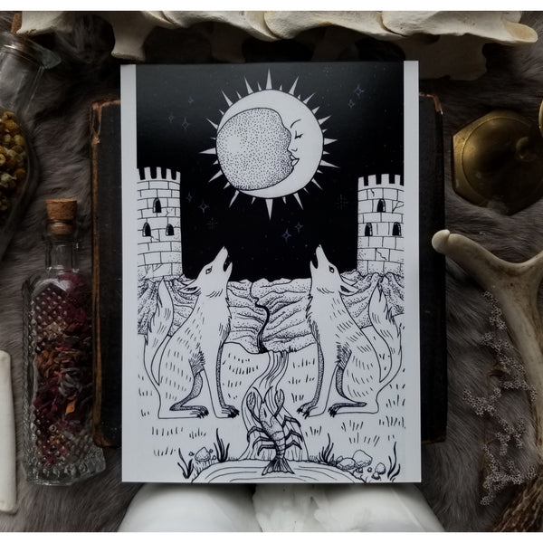 The Moon Tarot Card Art Print 5 x 7
