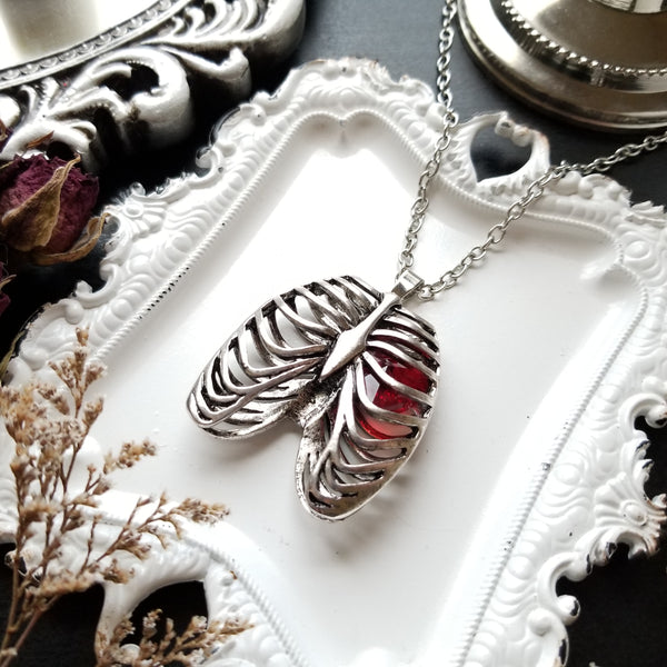 Anatomical Rib Cage Necklace with Crystal Heart - Stainless Steel