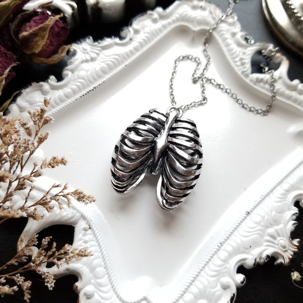 Anatomical Rib Cage Necklace - Stainless Steel