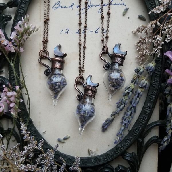 Lavender Quartz Potion Bottle Necklaces