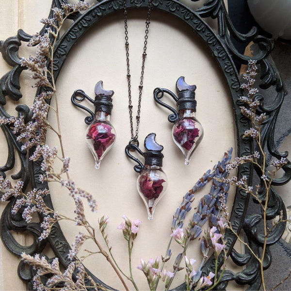Rose Spell Bottle Necklaces