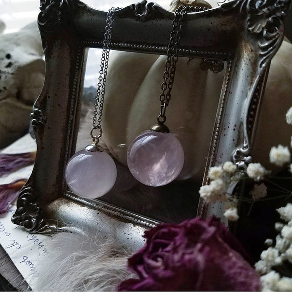 Rose Quartz Crystal Ball Necklace