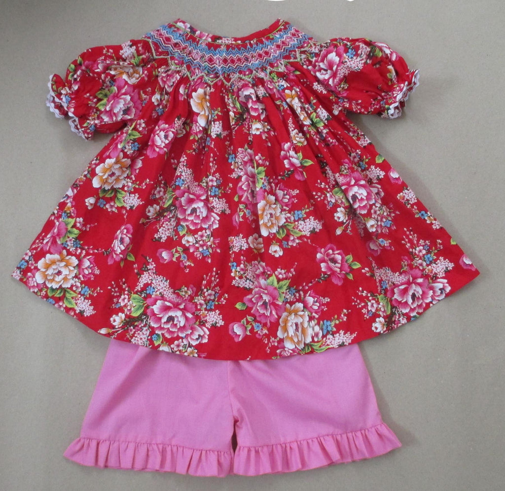 Red Floral Smocked Short Set