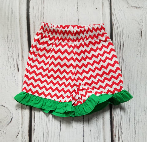 Red Chevron with Green Ruffle Short
