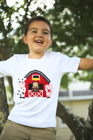 Black and White Farm Applique Tee Shirt