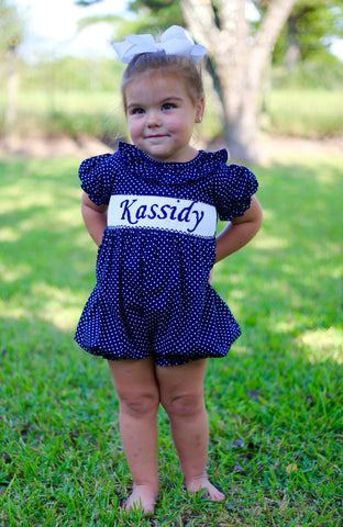 Navy Dot Personalized Smocked Bubble - PRE SALE ALLOW 14 WEEKS