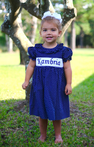 Navy Dot Personalized Smocked Dress - PRE SALE ALLOW 14 WEEKS