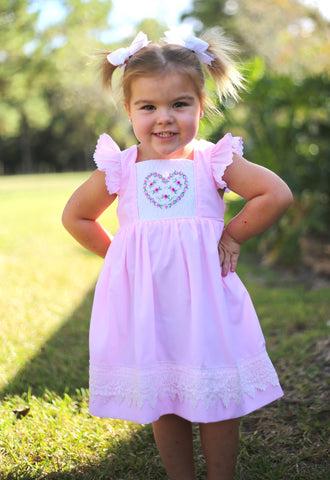 Heart and Lace Smocked Tie Back Dress with Pearl Accents