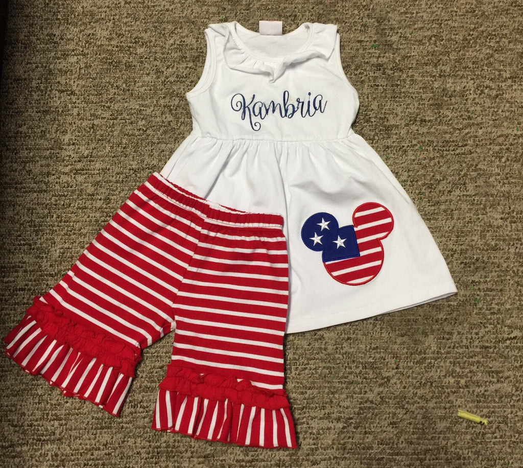 Mickey Girls Patriotic Knit Short Set