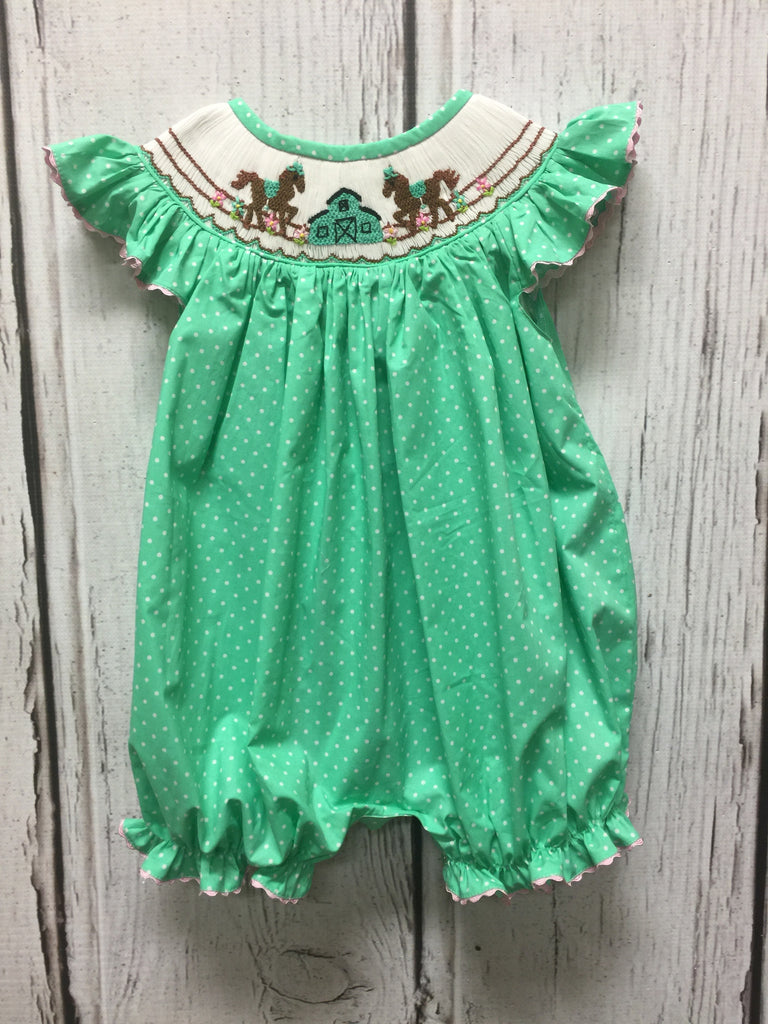 Mint Dot Horse Stable Smocked Bubble