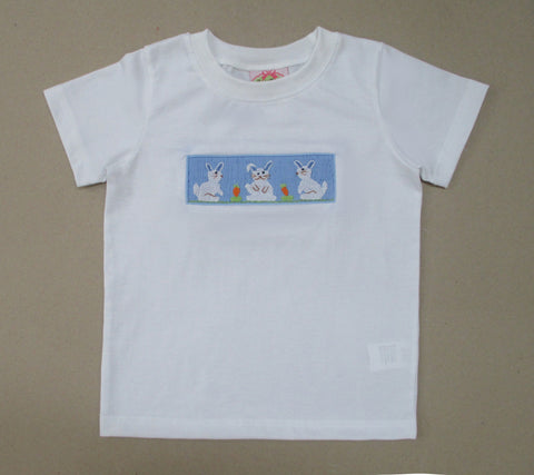 White Tee with Blue Smocked Bunny Tee