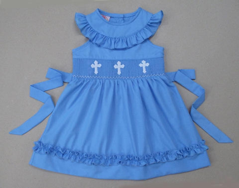 Blue Cross Tie Back Dress
