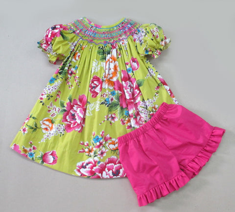Green & Pink Floral Smocked Geometric Short Set