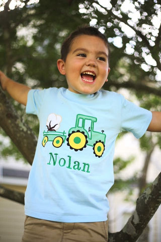 Cotton and Tractor Applique Tee Shirt