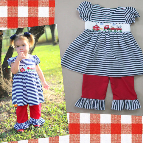Navy and White Stripe Farm Smocked Pant Set