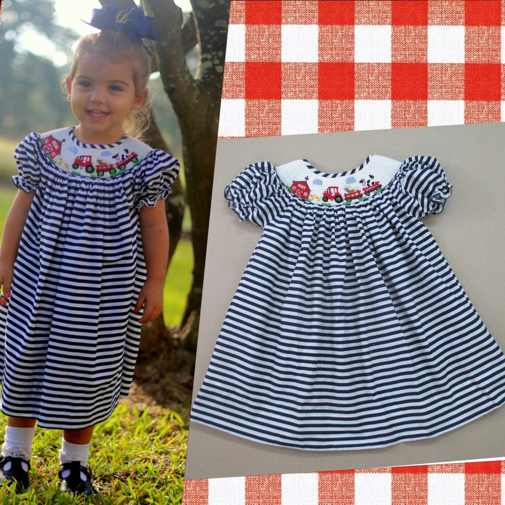 Navy & White Stripe Farm Smocked Bishop