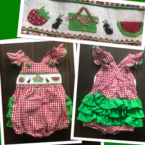 Picnic Girls smocked Ruffle Butt Bubble