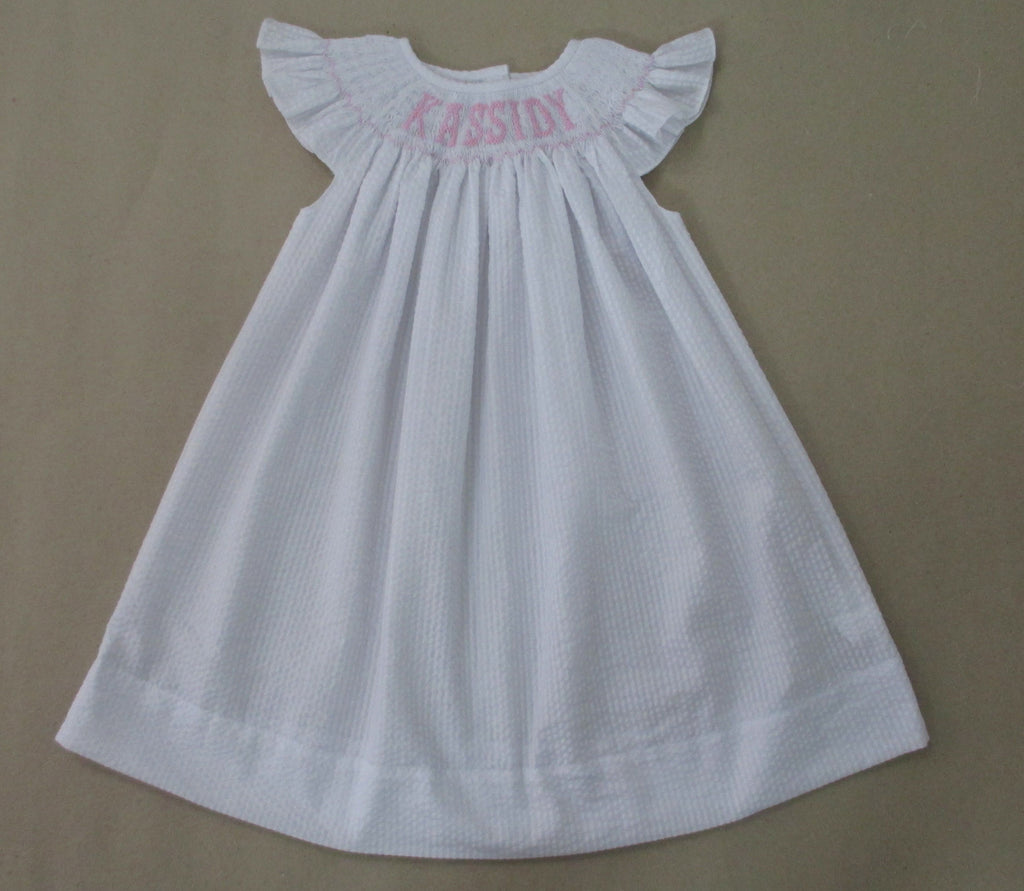 SEERSUCKER WHITE PERSONALIZED DRESS - PRESALE - ALLOW 14 WEEKS