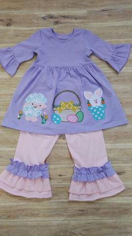 Easter Lamb Knit Pant Set