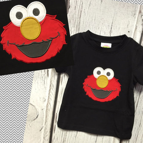 Elmo Inspired Black Applique Tee Shirt