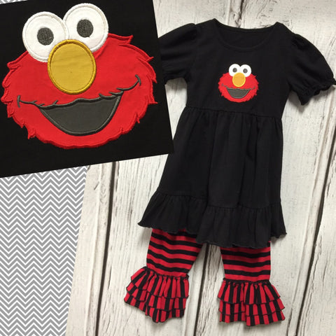 Elmo Inspired Red and Black Knit Pant Set
