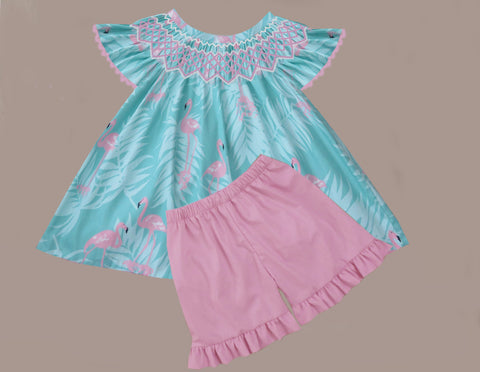 Flamingo Smocked Short Set