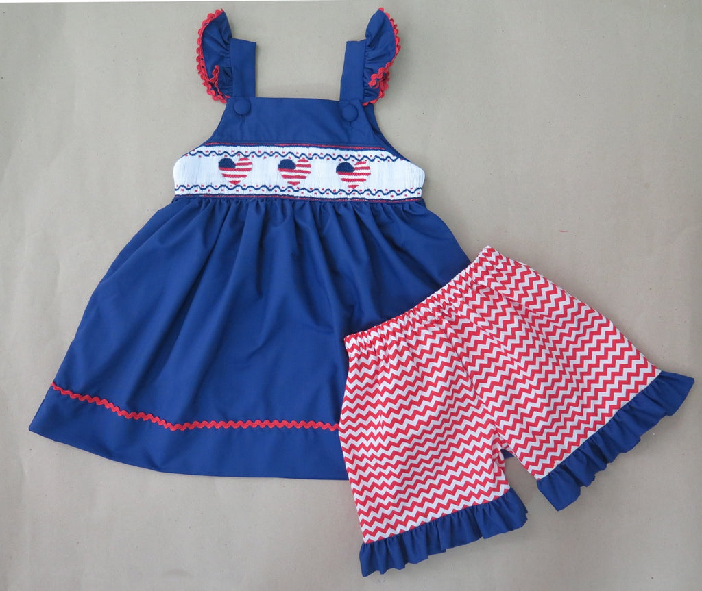 American Heart Blue Smocked Short Set
