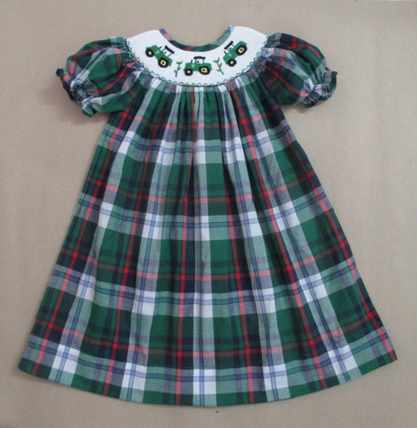 Tractor Plaid Smocked Bishop Dress