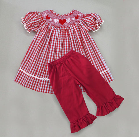Red Check Heart Smocked Pant Set-