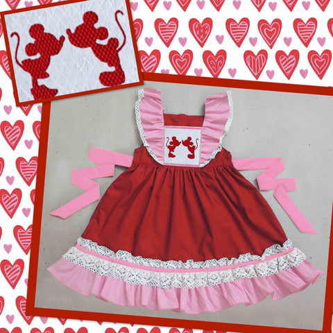 Kissing Mice Red and Pink Dress