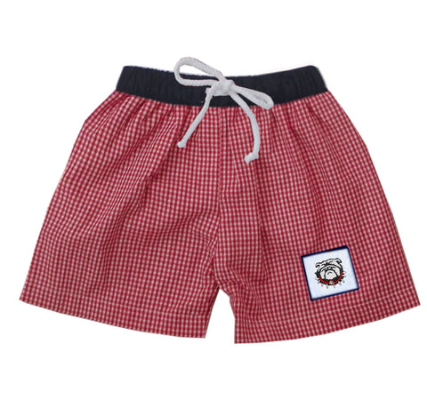 Red and Black Bulldog Boys Swim Trunks