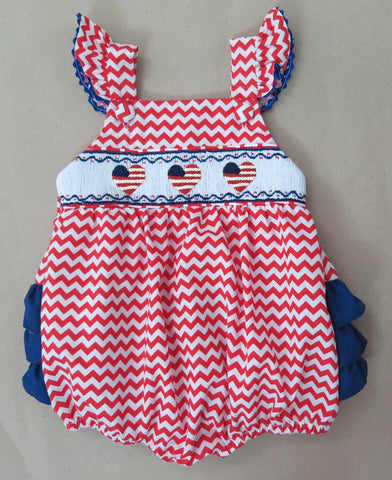 American Heart Chevron Ruffle Butt Smocked Bubble