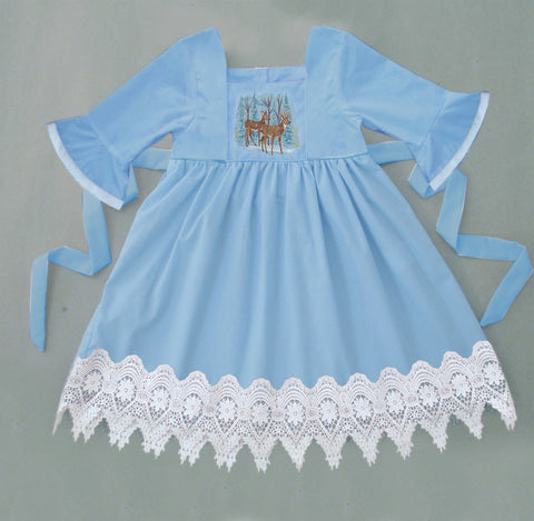 Blue Embroidered Winter Deer Dress with Lace - Ready to Ship