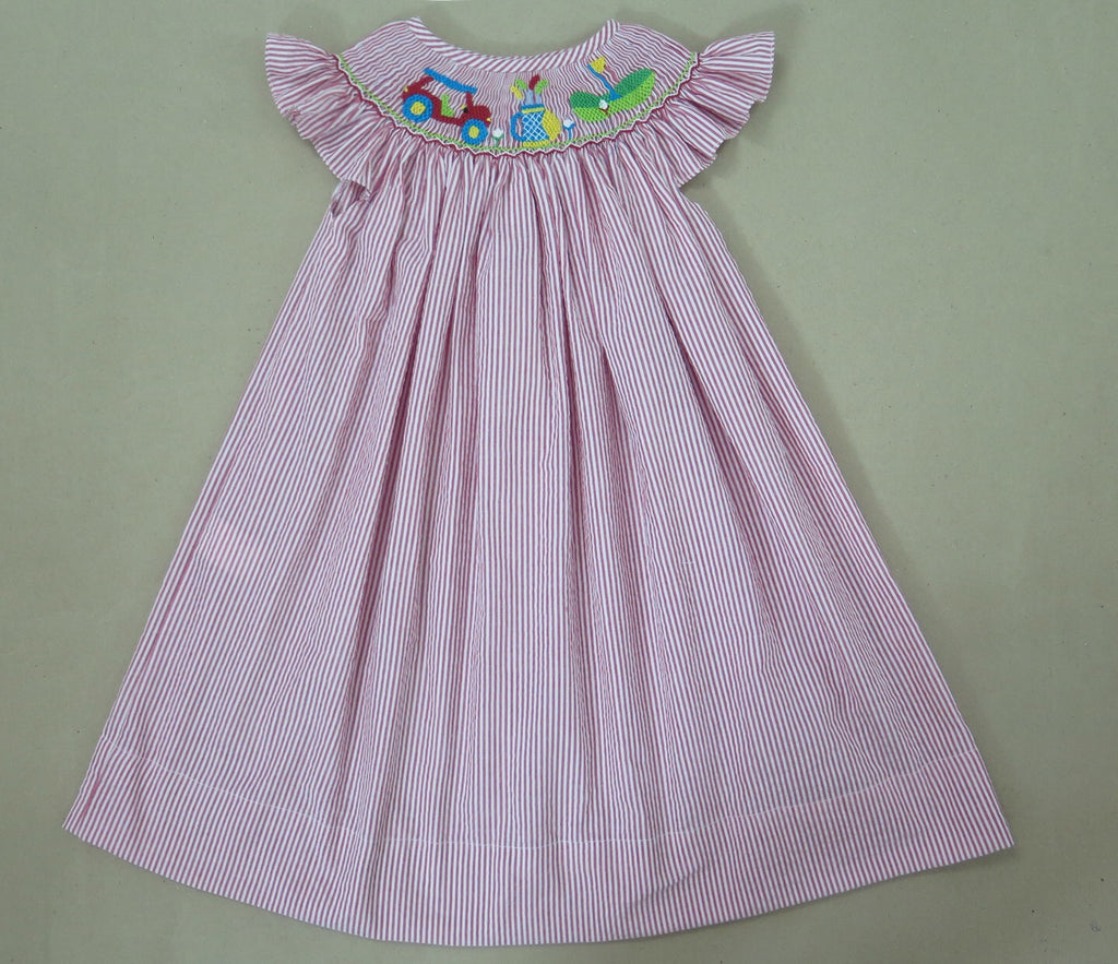 Girls Golf Seersucker Smocked Dress