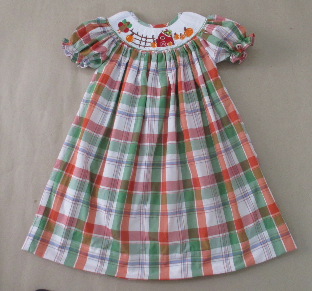 Fall Farm Plaid Bishop Dress