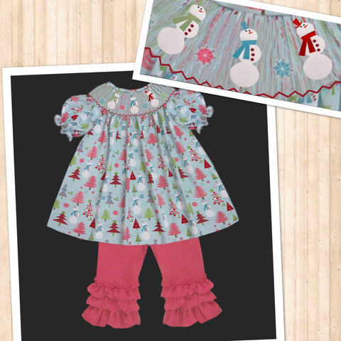 Snowman and Trees  Smocked Pant Set  PRE SALE SHIPS BEGINNING OF NOVEMBER