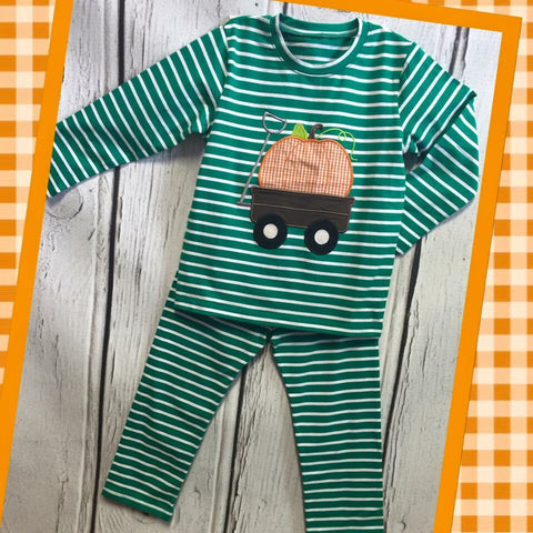 Boys Green Pumpkin Wagon Lounge Wear